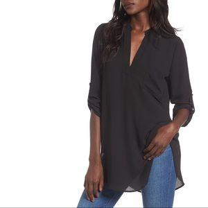 Lush Perfect Roll Tab Sleeve Tunic in Black